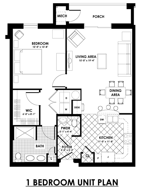 1 bedroom unit plan