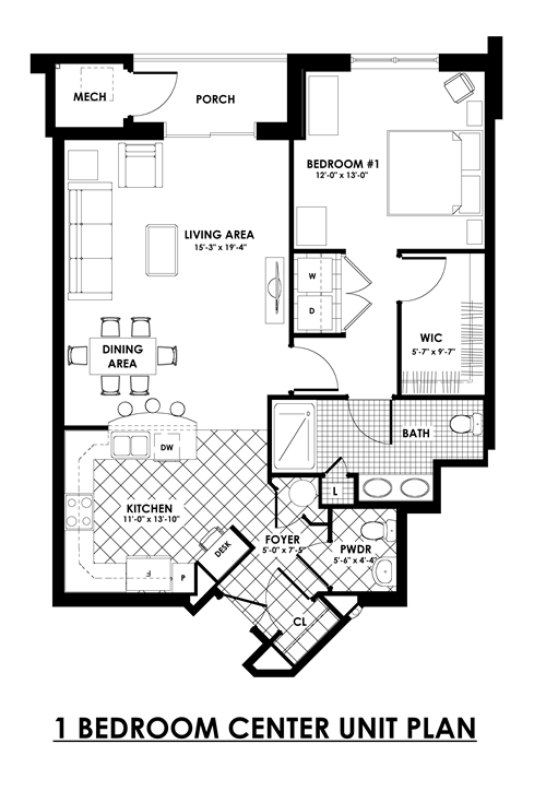 1 bedroom center unit plan