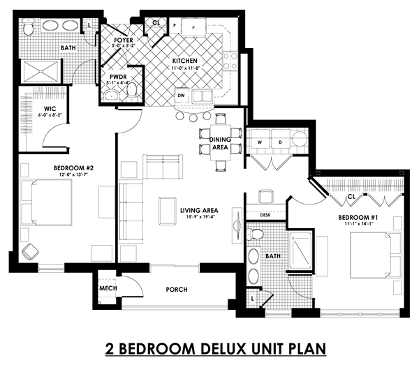 2 bedroom deluxe unit plan